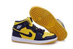 Men Air Jordan 1 Retro Dark Blue Yellow Shoes