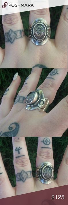 Sterling Silver Lodolite & Crescent Moon Ring This amazing little ring speaks for itself. With a heart stopping Lodolite crystal centered around two beautiful crescent moons all made in solid Sterling silver, this ring will have you turning heads and be the envy of all who see you wearing it!! Jewelry Rings