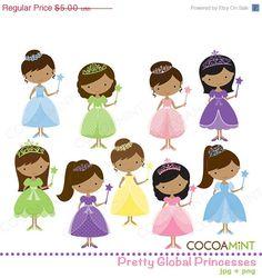 Bastante Global princesas Clip Art por cocoamint en Etsy