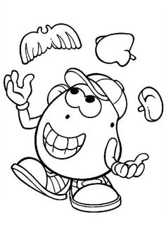 mr potato head juggling with his ear nose and mustache coloring pages