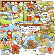Digital scrapbooking camping and card making camping kit.  Grab your paddle, your canoe awaits your journey! FQB - Gone Camping