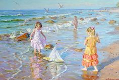 Russian Painter: Alexander Averin -- 'Girls On The Seashore' Candid Photography, Fine Art Photography, Pinterest Pinturas, Realistic Paintings, Art Moderne, Beach Pictures, Ukraine, Canvas Art, Canvas Ideas