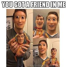 okay thats creepy like the woody on the humans face looks like it wants to die and never wants to be near that person