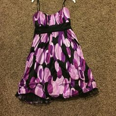 Purple dress Purple circle dress. Size small. Black sash that ties in the back as a bow. Worn once! Dresses Mini