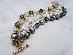Beachy boho freshwater pearl and gold beaded multi strand bracelet