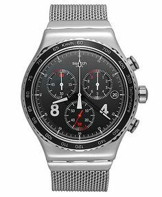 Swatch Watch, Men's Swiss Chronograph Blackie Stainless Steel Mesh Bracelet 43mm YVS401G