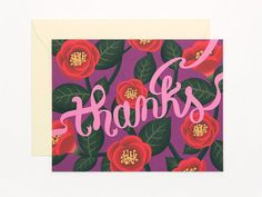 Red Camellia thank you card - thanks    5.5 x 4.25 inch / #100 White Uncoated Cardstock / Blank inside    1 EA includes a greeting card and an