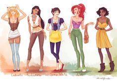 cool! Modern dress Disney Princesses