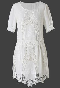 Delicate 3/4 Sleeve Lace Dress