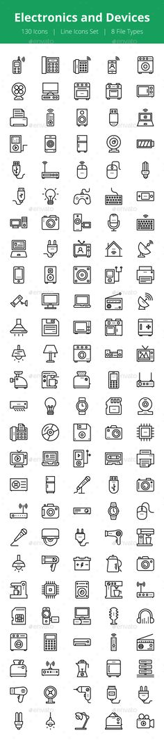 130 Electronics and Devices Icons