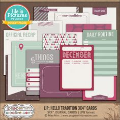 LIP: Hello Tradition 3x4 Journal & Filler Cards from Peppermint Creative #pocketstyle #projectlife #winter