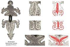 Fibulă din argint, descoperită la Martinovka, aproape de Kiev, Ucraina, pe al cărui corp sunt incizaţi mai mulţi pomi ai vieţii în reprezentarea bradului a cărui tulpină este protejată de cele două volute opuse, dispuse în oglindă. Fibula este datată în secolele VI-VII e.n.