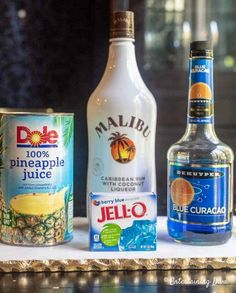 GREAT recipe for Blue Hawaiian jello shots with coconut rum! The pineapple juice, Malibu rum and blue curacao tastes great with the berry blue jello. #fromhousetohome #drinks #partyideas #cocktails #jelloshots #rumjelloshots