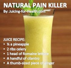 Natural Pain Killer — Juicing For Health slimming detox water Healthy Juice Recipes, Juicer Recipes, Healthy Juices, Healthy Smoothies, Healthy Drinks, Healthy Food, Energy Juice Recipes, Healthy Shakes, Healthy Detox