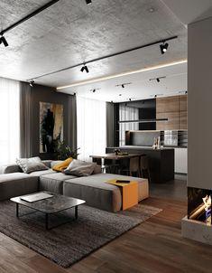 Loft Design, Home Room Design, Interior Design Living Room, Living Room Designs, House Design, Kitchen Design, Modern Loft Apartment, Apartment Interior, Apartment Design