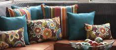 Pillow Perfect Westport Annie Reversible Oversized x in. Outdoor Pillow - Set of 2 Living Room Turquoise, Living Room Orange, Teal Living Rooms, Room Color Schemes, Room Colors, Toss Pillows, Throw Pillow Sets, Lumbar Pillow, Outdoor Cushions