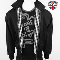 Harrington Jacket by Warrior Clothing- Rudy (Black With Checker Lining)