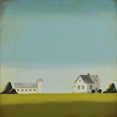 Iowa farmhouse and barn painting