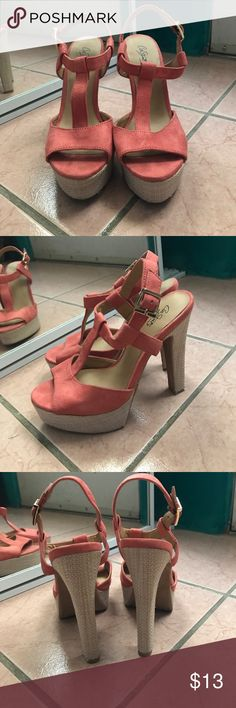 Coral high heel sandals These sandals have only been worn once, they're in perfect condition with no scratches or scuffs. Perfect shoes for summer! City Streets Shoes Heels