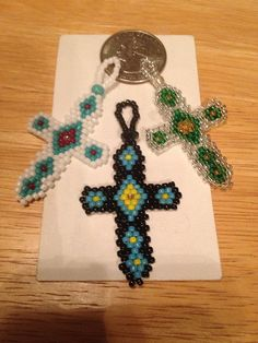 Beaded Cross Pendant YOUR CHOICE
