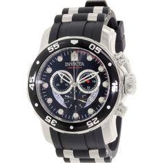 Invicta Men's Pro Diver 6977 Black Rubber Swiss Chronograph Watch