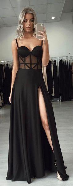 Black Mesh Split Maxi Dress