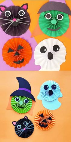 Halloween Paper Accordion Craft Cute Halloween witch ghost cat and pumpkin arts and crafts for kids Free printable template included hellowonderful Halloween Art Projects, Halloween Arts And Crafts, Halloween Crafts For Toddlers, Easy Halloween Decorations, Paper Crafts For Kids, Diy Arts And Crafts, Toddler Crafts, Halloween Kids, Fall Crafts