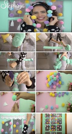 23 Clever DIY Christmas Decoration Ideas By Crafty Panda Bedroom Decor For Women, Girl Bedroom Designs, Diy Room Decor, Pom Pom Crafts, Yarn Crafts, Fabric Crafts, Easy Diy Projects, Craft Tutorials, Homemade Crafts