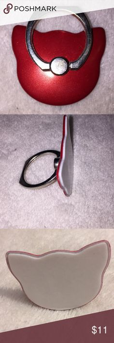 Cat Ring Pop Socket Brand new cat ring popsocket! Beautiful metallic red color with silver ring! Simply place finger in ring to pick up phone! This can also be used as a kick stand! Please check my closet for other colors! Smoke free home and free gift with every order of $10 or more! Happy Poshing! Please note: Item does not have tags but is for sure brand new! Accessories