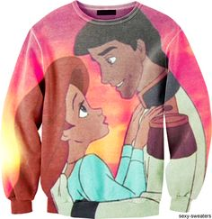 """Sweater with a scene from the 1989 Disney movie """"Little Mermaid"""". The creation of kitsch objects calls for innovation to adjust to whatever the current generation will relate to in a nostalig or sentimental way"""