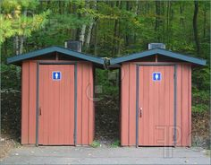 Red outhouses