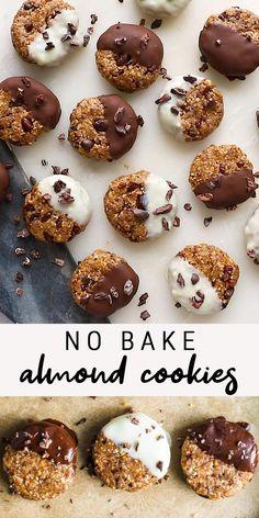 Almond Cookies, Cookies Vegan, Healthy Cookies, Healthy Sweets, No Bake Cookies, Healthy Baking, Cookies Et Biscuits, Gluten Free Desserts, Healthy Desserts