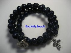 Dark Blue Memory Wire Rosary Bracelet by rockmybeads on Etsy