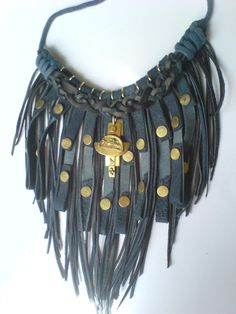 Navy/dove gray suede necklace with handcrafted brass pendant