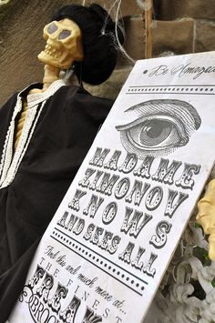 Madame DM Knows and Sees All - make this sign for DM fortune teller
