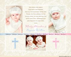 Soft Ivory Patterned Twin Baptism Thank You