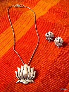 Lotus Chain set from Mithrr German Silver/Oxidised Jewellery