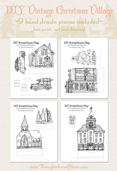 And, here are the printables! Thoughts from Alice: DIY Printable Christmas Village {Anthropologie Inspired}