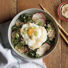 Brown Rice Bowl with Miso, Poached Egg, and Kale-Radish Slaw | CookingLight.com #myplate #protein #veggies #wholegrain