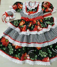 Lindos Vestidos de festas juninas caipira, enfeitados com rendas fitas e flores. Com Tiara de chapéu grátis! - BD68DA