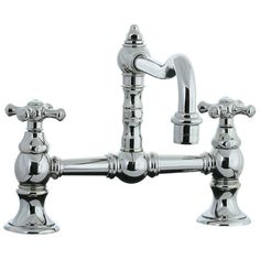 View the Cifial 267.235.721 Double Handle Bridge Kitchen Faucet with Metal Cross Handles from the Highlands Series at FaucetDirect.com.