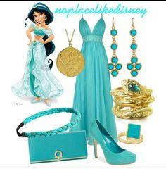 Princess Jasmine Prom Disneybound by noplacelikedisney dress / shoes / wallet / bracelet / earrings / necklace / ring / headband Disney Inspired Dresses, Princess Inspired Outfits, Disney Princess Outfits, Cute Disney Outfits, Disney Themed Outfits, Disneyland Outfits, Disney Inspired Fashion, Disney Bound Outfits, Disney Dresses