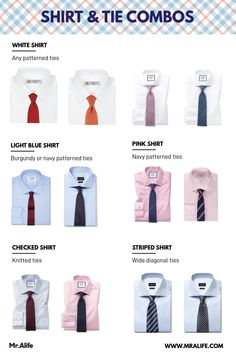 A Simple Guide to Shirt and Tie Combinations Simple rule for shirt and tie color combination with menswear outfit example. These shirt tie combinations work well with black, grey and navy suit. Shirt And Tie Outfits, Mens Shirt And Tie, Suit And Tie, Black Suit Combinations, Shirt And Tie Combinations, Color Combinations Outfits, Mens Style Guide, Men Style Tips, Suit Guide