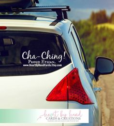 Etsy Cha Ching is My Favorite Sound Shop Address Vinyl Decal- Car Decal-Window Decal- Etsian- Etsy Shop- Custom- Personalized (17.99 USD) by HeartbyHandCards