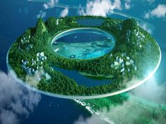 Futuristic Floating Cities through the use of magnetic levitation.