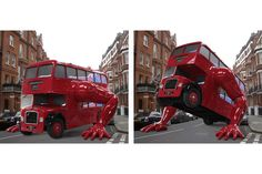 London bus by Czech sculptor David Cerny goes Olympic on display at the Czech House