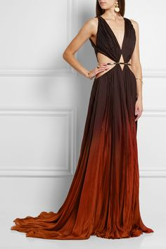 Roberto Cavalli   Ombré cutout pleated silk-chiffon gown   NET-A-PORTER.COM