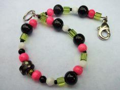 Pink Bead Bracelet Black Bracelet Women Gift Idea Pink by mscenna, $8.00