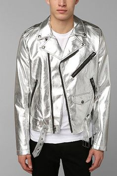 Tripp NYC Silver Moto Jacket | #Metallic #Silver #Jacket Urban Outfitters