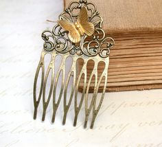 Hair Comb   Sweet Vintage Brass Butterfly On A by roomofyourown, $19.00